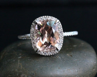 Pink Peach Morganite Engagement Ring Cushion Morganite 10x8mm Ring in 14k White Gold with Diamond Halo