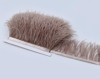 Dyed Ostrich Feathers Fringe Trims Height 8-10cm Natural Plumage Ribbon For Wedding Costume Dress Decoration
