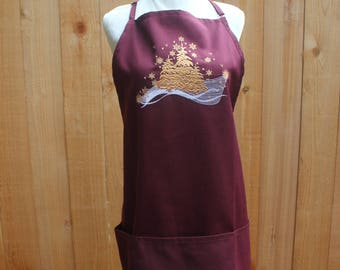 Gilded Christmas Apron Crimson Red