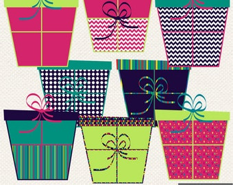 Gift Box Digital Clipart Presents Ribbon Gifts Clip Art Instant Download Personal Commercial Use Bright Colorful