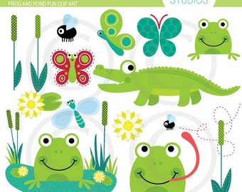 Frog and Pond Fun - Clip Art Set Digital Elements for Cards, Stationery and Paper Crafts and Products