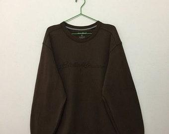 15% SALE Eddie Bauer Men's Sweatshirt/Eddie Bauer Embroidered Pullover Sweatshirt/Brown/Size L