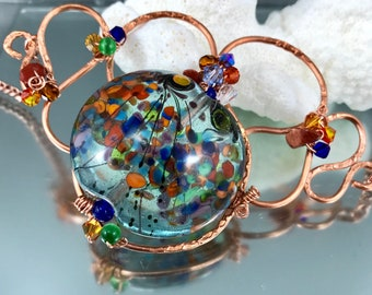 bead soup pendant, lampwork glass, bold jewelry, copper jewelry, wired lampwork, hammered copper, statement jewelry, rainbow glass frit bead