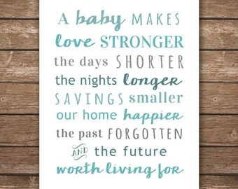 DIGITAL - Custom Nursery Printable - Baby Makes Love Stronger - Nursery Décor