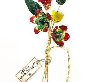 Red, Yellow, and Green Lampwork Headpin Bouquet. Set of six headpins.