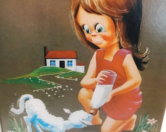 Vintage Retro Girl with Lamb nursery art framed