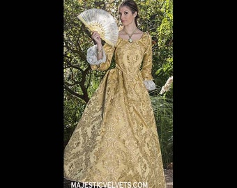 Yellow gold Elizabeth Swann 18th c Dress Halloween Renaissance Medieval Costume Clothes Clothing. Made to fit: Small to Plus Size #5