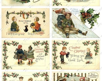 Vintage Christmas Post Cards No. 1 Digital Collage Sheet