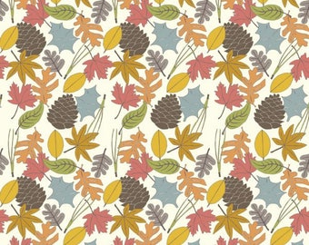 Fat Quarter Woodland Fabric Leaves Birch Fabrics Organic Cotton Fabric Camp Sur 3 Collection Jay-Cyn Designs Camping Quilt Fall Leaves