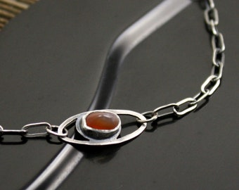 Agate Eye Necklace in Sterling Silver and Lake Superior Agate