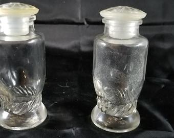 Upjohn Pill Bottles 2 Vintage Glass Jars Lidded Apothecary Jars/Bottles