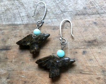 Pietersite bird earrings : gemstone fetish jewelry birds with sky blue beads and handmade sterling silver earwires