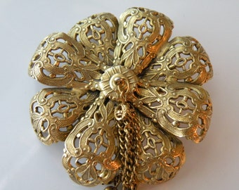 On Sale FREIRICH flower brooch, pin. Filigree, tassels.