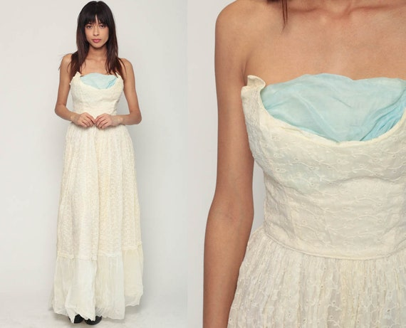 Strapless Prom Dress Eyelet Lace 50s Party Dress Cocktail Xs
