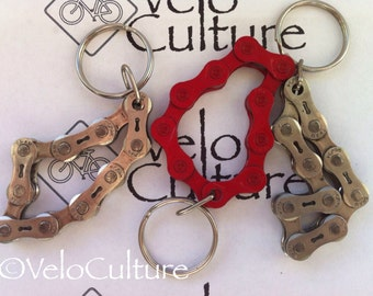 Recycled bicycle chain keyring - upcycled bike