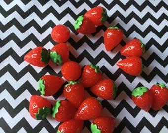 10pc Miniature Strawberry 3D resin Fruit