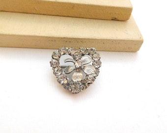 Vintage Cal-Art Sterling Silver Rhinestone Four Leaf Clover Heart Brooch Pin N35