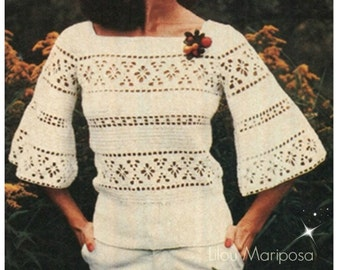 Crochet TOP Pattern Vintage 70s Crochet Bell Sleeved Blouse Pattern