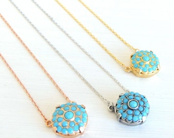 Turquoise Necklace, Turquoise Pendant, December Birthstone Necklace, Layering Necklace, Bohemian Turquoise Necklace, Bridesmaids Gift