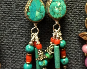 Turquoise, Coral & Sterling Silver Dangles