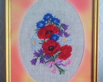 """Embroidered painting """"Bouquet of poppies"""""""