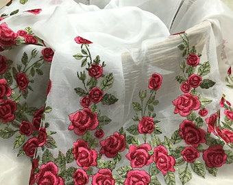 """51"""" Width 3D Floral Rose Embroidery Organza Lace Fabric by the Yard"""