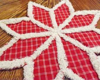 Rag Quilt Trivet - Candle Mat - Made to Order - Homespun Trivet - Homespun Candle Mat - Table Decor