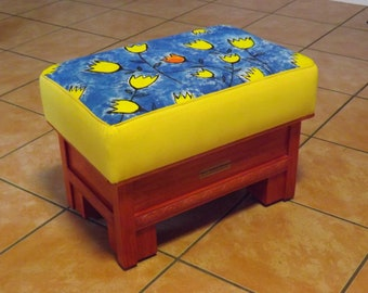 Usable Art - Artist painted ottoman rectangular varnish/yellow