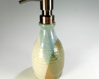 Pottery soap dispenser, ceramic lotion pump, stoneware soap dispenser, stainless pumper soap dispenser, liquid soap pump, hand soap pump