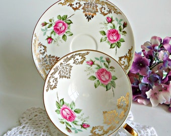 Bavaria Alka Kunst TeaCup and Saucer Vintage Tea Cup  Bone China Teacup and Saucer  Floral