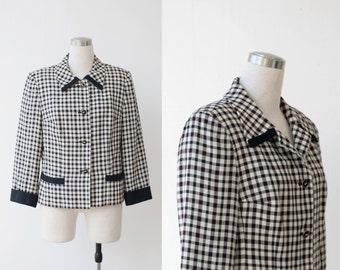 1980's Plaid Blazer Large Kasper for A.S.L Designer Checker Jacket sz 12 M L