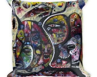 Douchebags in the Dunes. Original outsider art. Art Pillow.
