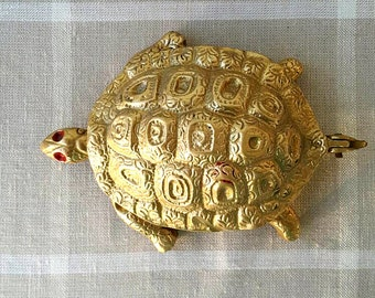 Vintage brass turtle ashtray Solid brass tortoise ornament Gold tone brass home decor Decorative ashtray Brass trinket box Turtle figurine