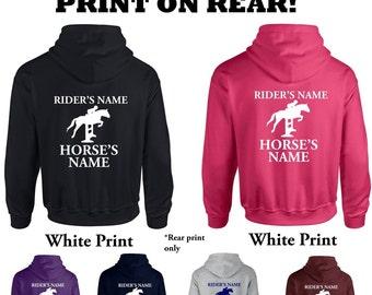 Custom Unisex Adults Personalised Horseriding Hoodie Hooded Sweatshirt Rider and Horse's Names on Rear