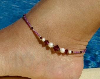 Anklet, ankle bracelet, Swarovski Amethyst Anklet, Swarovski Pearl Ankle bracelet, Crystal Beach Anklet