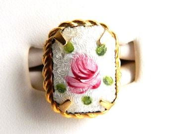 Vintage White Guilloche Enamel Pink Cabbage Rose Ring - Gold Rope Frame - Rectangular - Cocktail Holiday Ring - 1950s - Adjustable