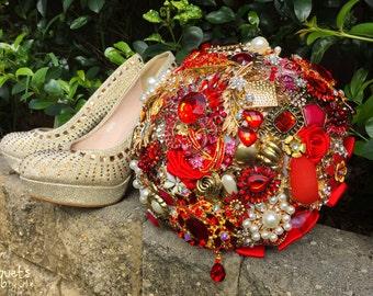 Wedding Brooch Bouquet, Broach Bouquet, Brooch Bouquet, Red Gold Bouquet, Gold Wedding, Bridal Brooch Bouquet, Button Bouquet, DEPOSIT ONLY
