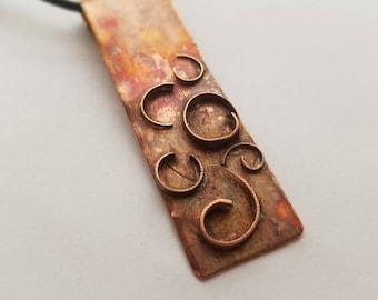 Upcycled rustic organic copper hardware artisan pendant