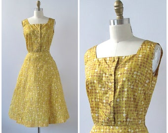 HELLO YELLOW Vintage 50s Dress | 1950s Yellow Fit & Flare Dress | Abstract Paint Splatter Polka Dot Print Sundress | Rockabilly VLV | Small
