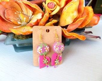Pair of pierced earrings Murano milleflori heart