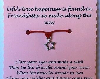 Friend gift, Friend Wish Bracelet, Friendship bracelet, Charm bracelet, Friend Bracelet, Friend Jewelry, Gift Friend, Quote Jewelry, Friends