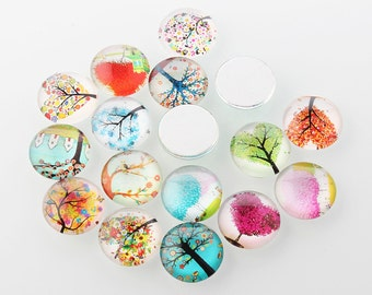 8pc 12mm mix glass cabochons with printed tree of life patterns-7538P