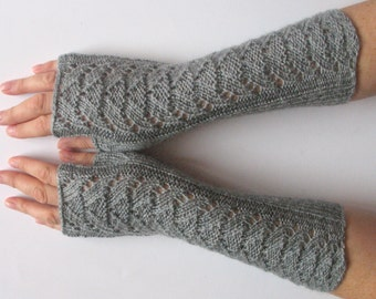 "Long Fingerless Gloves Gray 11"" Arm Warmers Mittens Soft Acrylic"