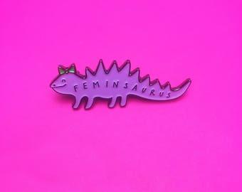 Feminsaurus Enamel Pin - Feminist - Dinosaur - Dinosaur Pin - Pink Pins - Feminism - Enamel Pin