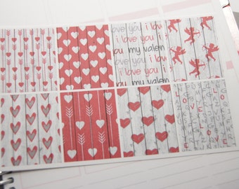 8 Planner Stickers Full Box Vertical Horizontal Plum Valentine Stickers Hearts Red eclp fits Erin Condren PS368b/e