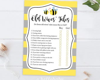Old Wives Tale Yellow Bumble Bee Baby Shower Game - Yellow Baby Shower - Bumble Bee Baby Shower - 007