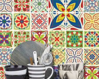 Tile Stickers 24 Pack Decals Vintage Mediterranean Moroccan Style -T16