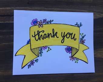 Thank You Greeting Card | Floral Banner Greeting Card | Thank You Note