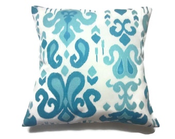 Decorative Pillow Cover Shades of Turquoise Ikat Design Same Fabric Front/Back Toss Throw Accent 18 x 18 inch x