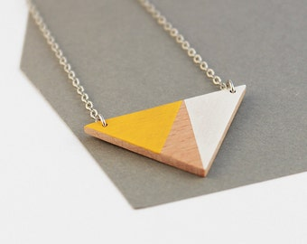 Wooden triangle geometric necklace - sunny yellow, white, natural wood - minimalist, modern jewelry